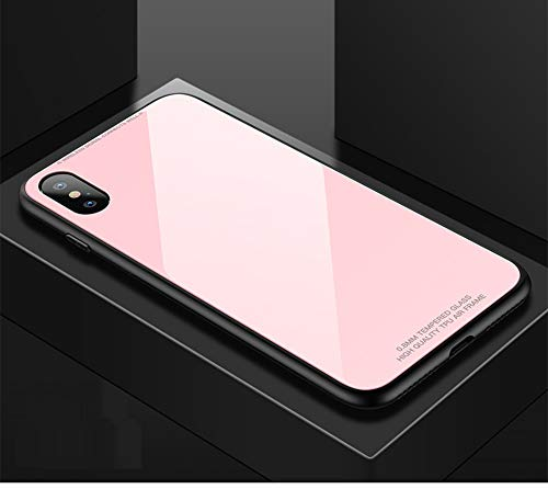 - JINRU iPhone Xs Case Iphonexs/XR/XS,Tempered Glass Shell Solid Color Anti-Drop, Scratch Resistant,Pink,XS