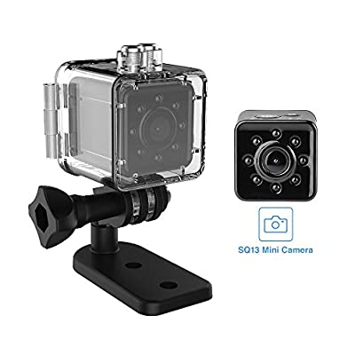 SQ13 Mini Camera,Mini Spy Camera,Full HD 1080P WiFi Cam Micro Night Vision Recorder Camcorder Support Mobile WiFi Hotspot for FPV Drone Waterproof Shell Sports Camera Newest Black from vapeonly