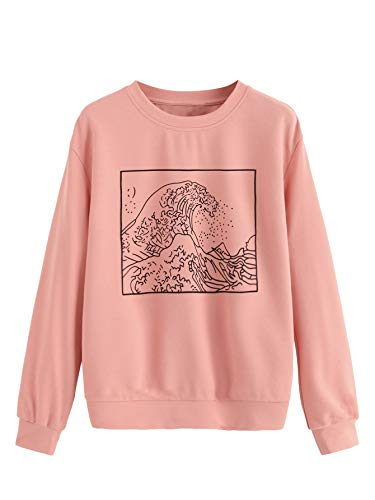 SweatyRocks Women's Graphic Print Pullover Sweatshirt Long Sleeve T-Shirt Top Pink M