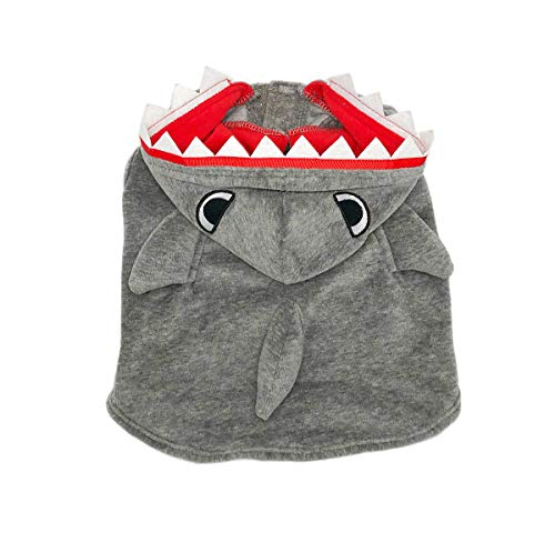 MEILIS Shark Costumes for Dogs and Cats Halloween Party Coat Daily Wearing Winter Hooded Sweater Blue,Grey ()