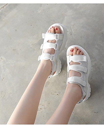 Woman Muffin Shoes Black Summer Sandals Cake Thick Shoes Bottom Student Wild Beach ZCJB 5UwxXqA