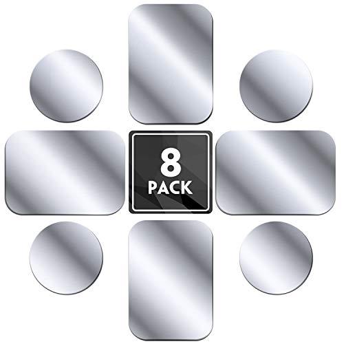 MENNYO Placche Metallo 8 Pezzi per Calamite Cellulare Auto, Piastra Metallica Universale Adesivo per Supporti cellulari Auto/Supporto Telefono Magnetico - 4 Rotondi e 4 rettangolari