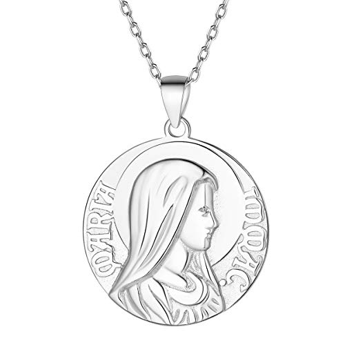 Virgin Mary Necklace 925 Sterling Sliver Antiqued Dainty Disc Religious Protector Talisman Medallion Round Coin Pendant Necklace Christian Jewelry for Women Men