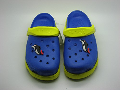 V Italia Blue Yellow Kids Clogs With Jibbets Outdoor Size 4-5 - Image 3