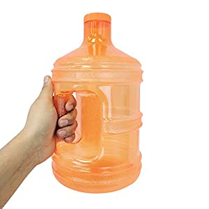 1 Gallon BPA FREE Reusable Plastic Drinking Water Big Mouth Bottle Jug Container with Holder - Orange
