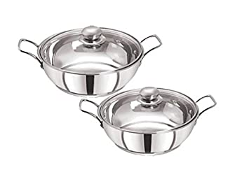Pristine Stainless Steel Induction Compatible Sandwich Base Kadai Set with Glass Lid, 22cm / 25cm, Silver Kadhai & Woks at amazon