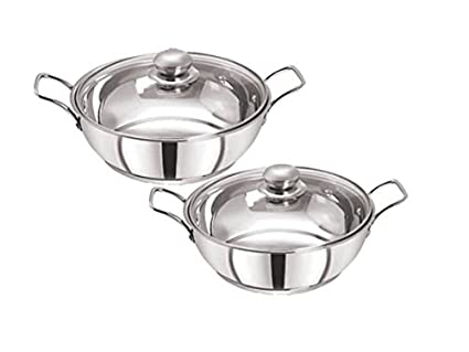 Pristine Stainless Steel Induction Compatible Sandwich Base Kadai Set with Glass Lid, 22cm�