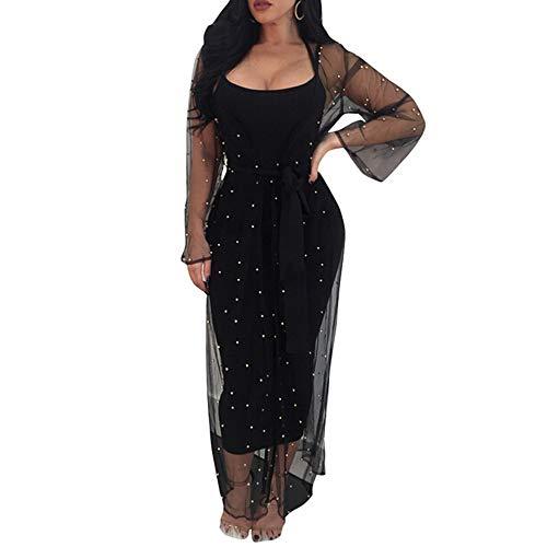 Women Spaghetti Strap Bodycon Dresses Mesh See Through Bead Kimono Cardigan Cover up 2 Piece Set Outfits (Black, ()