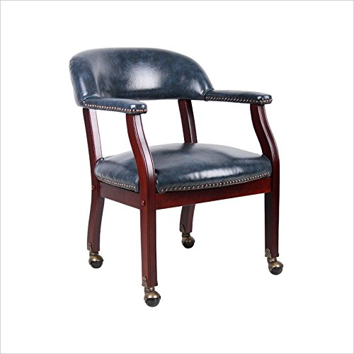Boss Office Captains Chair in Blue and Mahogany with Casters (Guest Captains Chair)