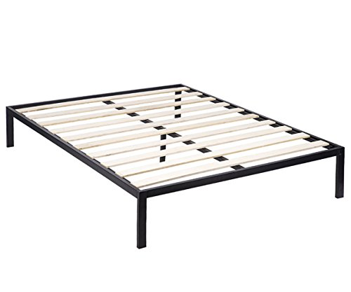 BestMassage King Size Wooden Slat Edge Platform Metal Bed Frame Mattress Foundation
