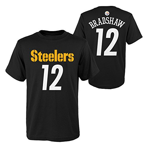 (Outerstuff NFL Pittsburgh Steelers Youth Boys Retired Player Mainliner Name Short Sleeve Tee, L(14-16), Black)
