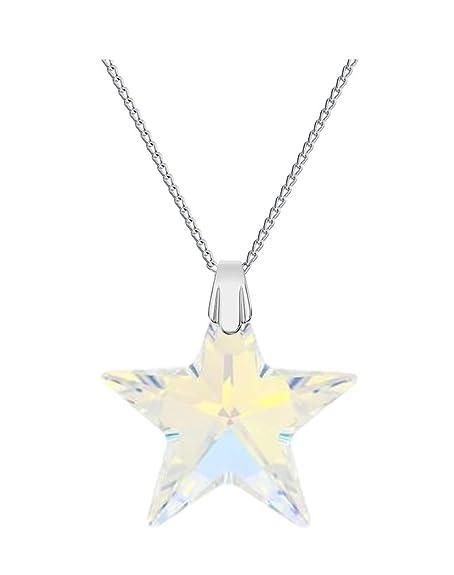 huge discount d7619 b1c27 Crystals&Stones - Collana con ciondolo a stella originale Swarovski®, 28  mm, cristallo AB, con catena in argento 925, con custodia per gioielli