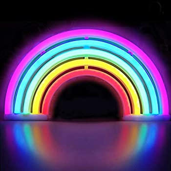 XIYUNTE Rainbow Neon Light Rainbow Lights Neon Signs Wall Light Battery or USB Operated LED Signs Rainbow Lamps Light up for Kids Room,Bar,Party,Wedding,Christmas