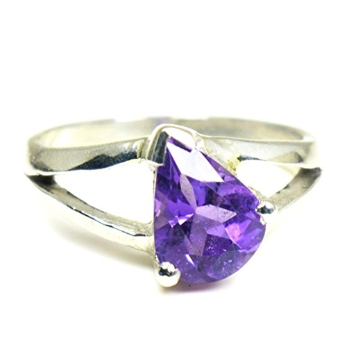 Gemsonclick Natural Amethyst Sterling Silver Ring Pear Cut Feburary Birthstone Handmade Jewelry Size 4-13