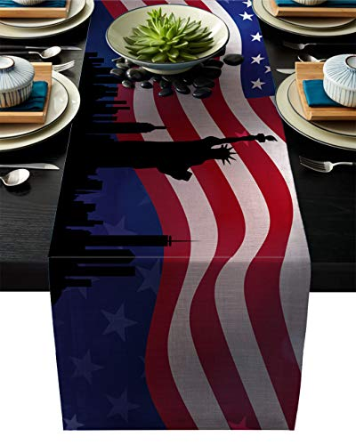 American Flag Cotton Linen Table Runner Rectangle Plate Mat Outdoor Rug Runner for Coffee Dining Banquet Home Decor, the Statue Liberty and Skyscrapers Independence Day Celebration, 14 x 72 inch