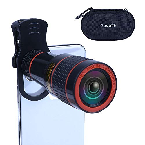 Godefa 12X Zoom Telephoto Cell Phone Camera Lens Universal Clip On Lens Kit for iPhone X/8/7/6S/6 Plus/5/4,Samsung, Android and Other Phones