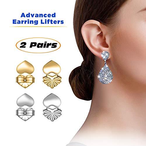 Advanced Premium Quality Earring Lifters   Back Lobe Ear Support   2-Pair Set of Piercing Ear Lobe Back Lift   Sterling Silver and 18K Gold Plated for Ear Lobe Reinforcement   BONUS Velvet Storage Bag