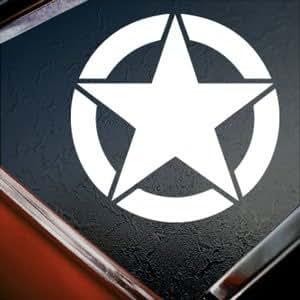 Wwii Jeep Star Army Marines White Silhouette Car Window Vinyl Sticker Decal