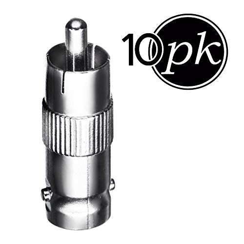BNC to RCA (10 Pack) BNC Female to RCA Male, Connector, Adaptor, for CCTV