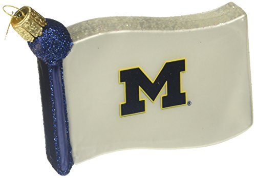 Old World Christmas University of Michigan Flag Glass Blown Ornament