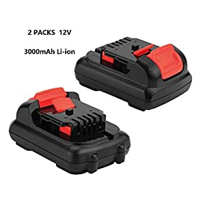 Creabest 12V 3000mAh Li-ion Replacement Battery for DEWALT DCB120 DCB121 (Pack of 2) Power Tool Batteries.