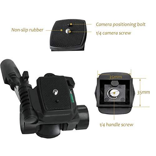 Heavy Duty video camera treppiede Fluid Drag pan testa con piastra scorrevole 1//10,2/cme 3//20,3/cm vite compatibile con Canon Nikon Sony videocamera DSLR ripresa filmare