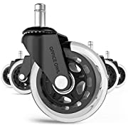 """#LightningDeal Office Chair Wheels By Office Owl for Smart Home Offices, Set of 5 Heavy Duty 3"""" Replacement Rubber Office Chair Casters, Cool Rollerblade Style Stem Chair Casters for Hardwood,No Need for Chair Mats"""