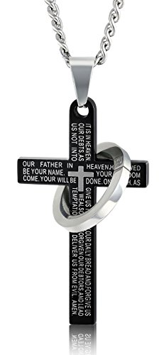 FIBO STEEL Stainless Steel Mens Womens Cross Necklace Lords Prayer Pendant 24 inches, 3 Colors Available