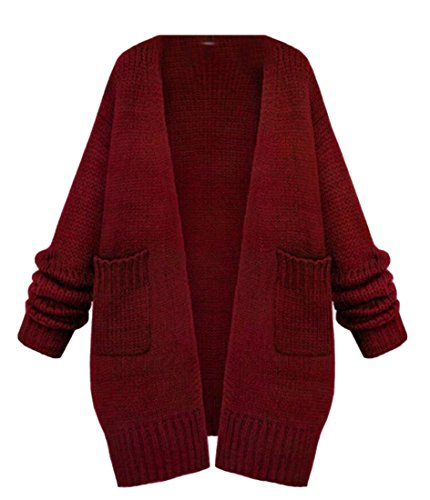 amp;S amp;W Red M Long Women's Sleeve Front Cardigan Warm Sweater Open dCvg5nqvw