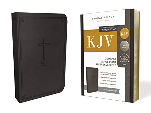 KJV, Reference Bible, Compact, Larger Print, Leathersoft, Black, Red Letter Edition, Comfort Print, 8-point print size Compact Reference Bible Kjv Snap