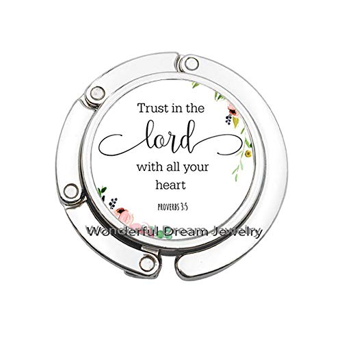 Religious Jewelry Trust in The Lord with All Your Heart Proverbs Bible Quote Bag Hook Purse Hook Christian Women Men Gifts,PU374 (Silver)