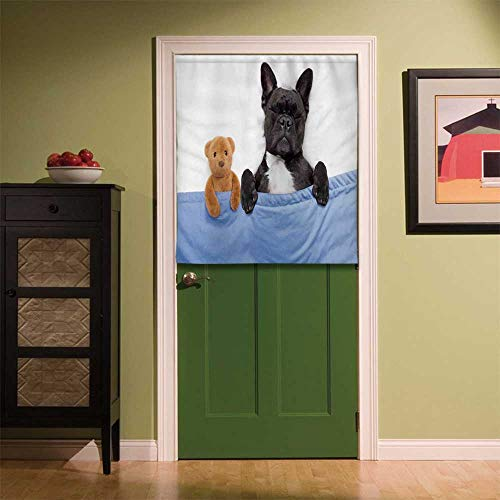 YOLIYANA Animal Decor Fabric Art Door Curtain,French Bulldog Sleeping with Teddy Bear in Cozy Bed Best Friends Fun Dreams Image for Locker Room Store Privacy Space,35.43''W x 39.37''H