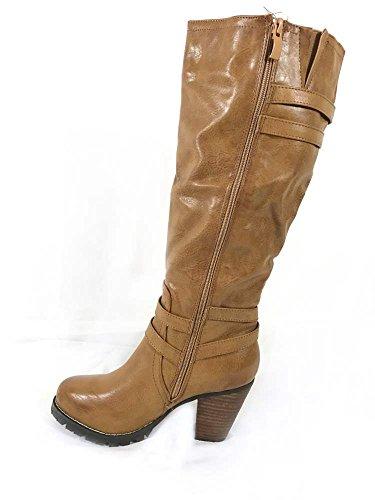 Talon Bottes 1255 Genou Équitation Mesdames Bloc Mid Fermeture Haut Chaussures À Éclair Femmes Mollet Basse Tan 7xYTawEqYZ