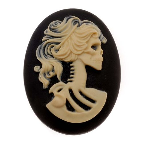 Lucite Oval Cameo Black With Cream Lolita Skeleton 30x40mm (1 Piece) 30 Mm Cream