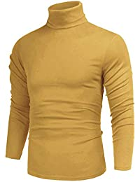 Men's Casual Slim Fit Basic Tops Knitted Thermal Turtleneck Pullover Sweater