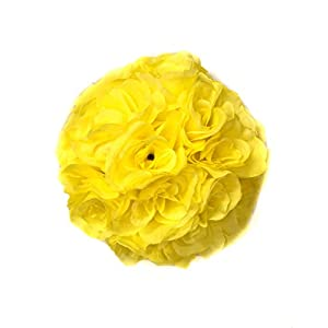 Ben Collection Fabric Artificial Flowers Silk Rose Pomander Wedding Party Home Decoration Kissing Ball Trendy Color Simulation Flower (Yellow, 25cm)