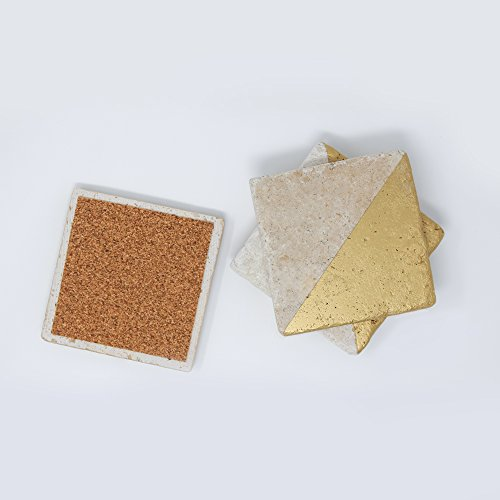 - Gold Painted Ivory Travertine 4'' X 4'' Coasters Each Piece Unique Natural Stone Absorbent Coasters Blank Tumbled Stone Tiles Set of 4 Coasters / Home Decor / Wedding Gift / X-mas Gift