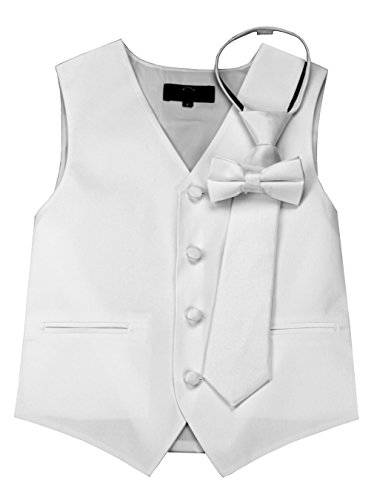 Brand Q Boy's Tuxedo Vest, Zipper Tie & Bow-Tie Set in White-8
