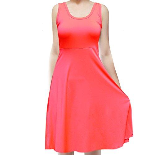 (ShopMyTrend SMT Women's Sleeveless Flowy Midi Summer Beach A Line Tank Dress Small Highlight Neon Pink)
