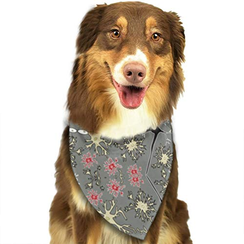 ZZJIAK Dog Bandana Scarf Art Neurons Triangle Bibs Printing Kerchief Set Accessories Dogs Cats Pets ()