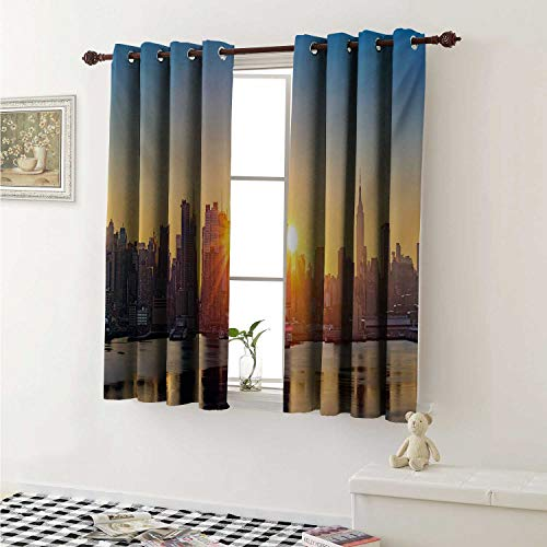 shenglv City Customized Curtains Tranquil Sunrise at Midtown Manhattan United States NYC Waterfront America Curtains for Kitchen Windows W63 x L45 Inch Pale Blue Peach Tan ()