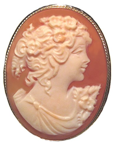 Cameo Brooch 18k (Romantica Cameo Brooch Pendant Master Carved Carnelian Shell Sterling Silver 18k Gold Overlay Italian)