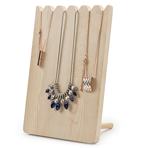 MyGift Natural Wood Adjustable-Length Necklace Holder Display Board - Pendant Chain White Jewelry Display