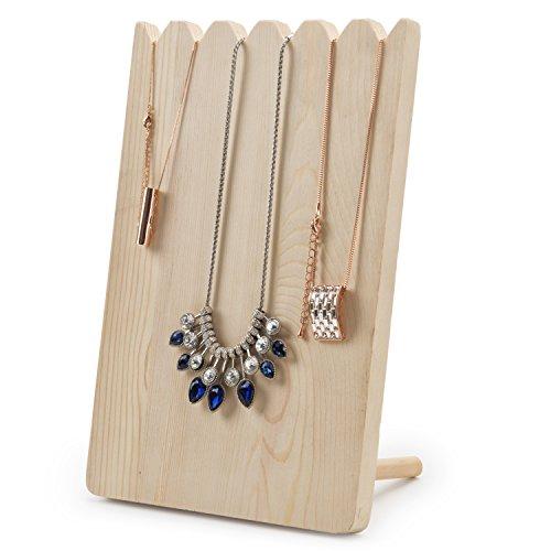 (MyGift Natural Wood Adjustable-Length Necklace Holder Display Board)