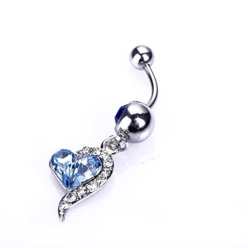 avel Barbell Blue Rhinestones Heart Dangle Belly Buttton Ring Piercing+1 Retainer ()