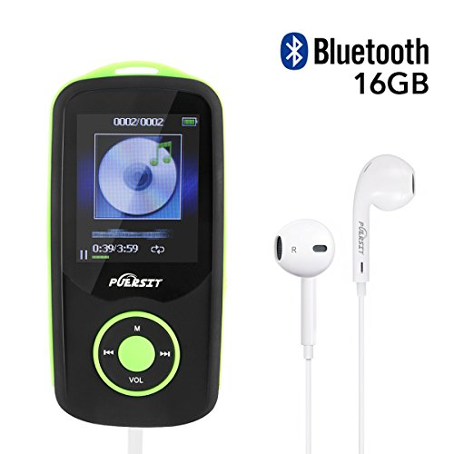MP3 Player, Puersit HiFi Bluetooth 4.0 16GB Memory Capacity(Expandable up to 64GB) 50 Hours Playback 3500 songs Lossless Sound Music Player, Headphones Included (Green)