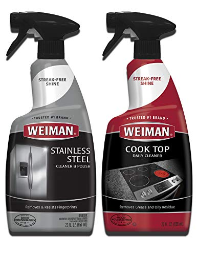 Weiman Cooktop Cleaner & Stainless Steel Cleaner - 22 Ounce - Daily Appliance Kitchen Cleaning Kit