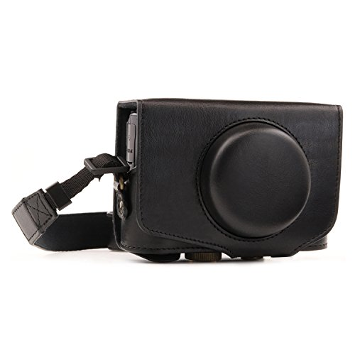 MegaGear MG1173 Canon PowerShot SX740 HS, SX730 HS Ever Ready Leather Camera Case with Strap - Black