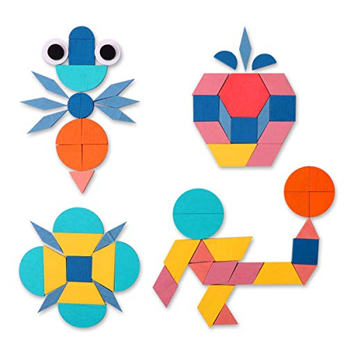 PLERISE Set of 180 Wooden Pattern Blocks Geometric Shapes Puzzles Brain Teaser Toys for Kids Ages 4-8 Best STEM Educational Montessori Tangram Toys with 24 Guide Cards