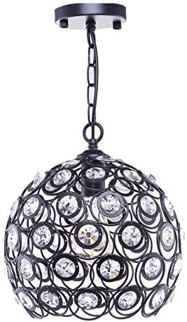 Diamond Life 1-Light Black Finish Metal Crystal Shade Chandelier Hanging Pendant Ceiling Lamp Fixture